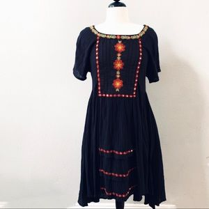FREE PEOPLE black boho dress floral embroidery S